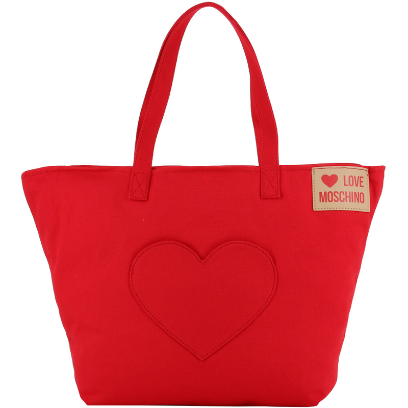 Love Moschino Red Fabric Love Applique Shopping Tote