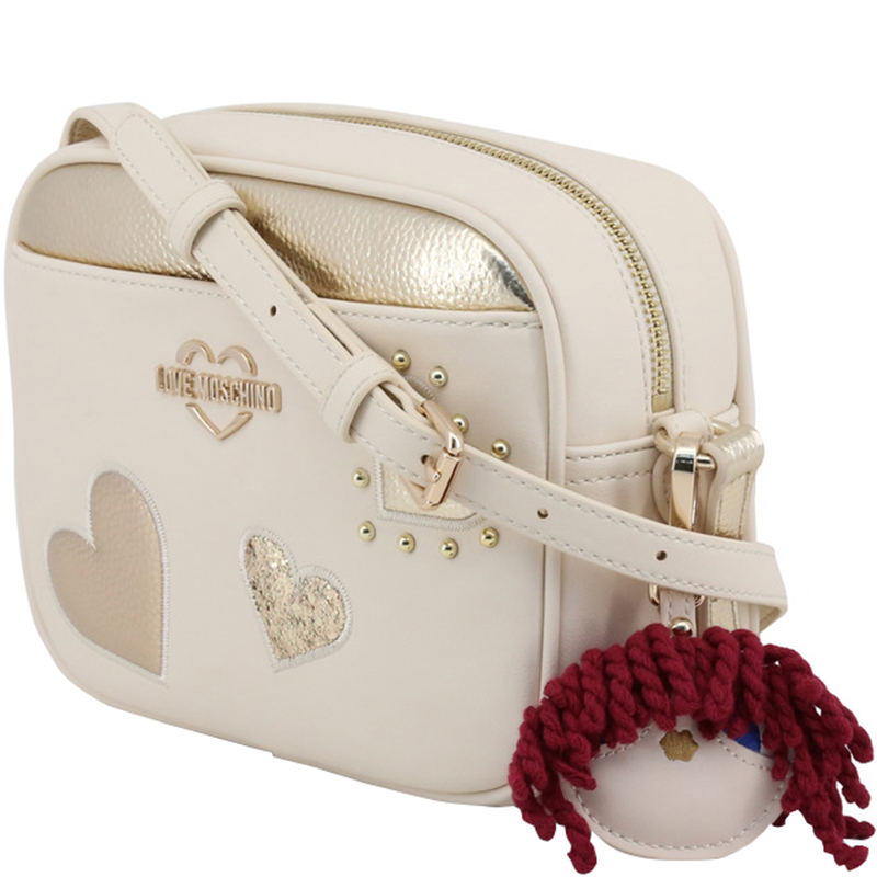 Love Moschino Two Tone Faux Leather Crossbody Bag, Cream
