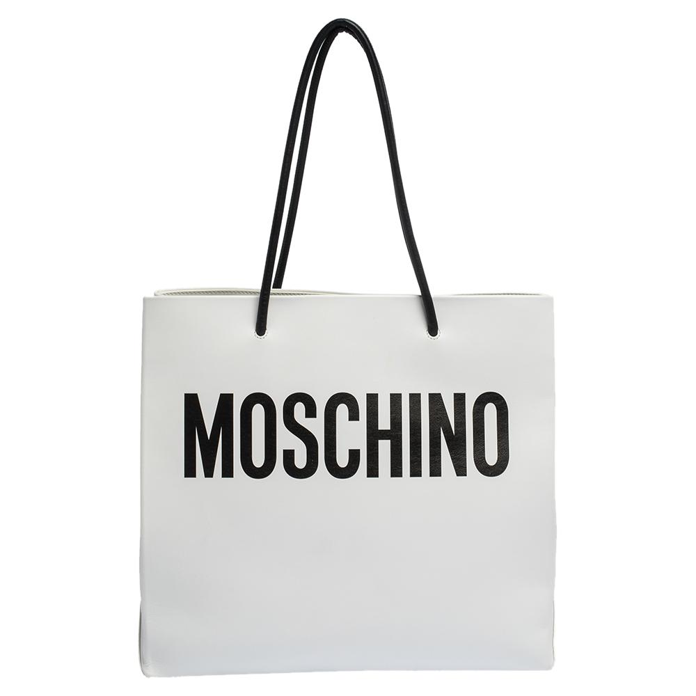 Moschino White Black Leather Logo Shopping Tote Moschino Tlc