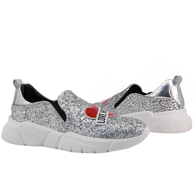 La marque Love Moschino Gris Métallisé de Paillettes et de Faux Cuir de Glissement Sur Sneakers Taille 39