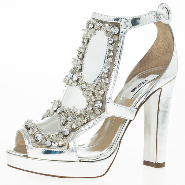 94328ee77ad Buy Moschino Silver Crystal Embellished Platform Sandals Size 36 24089 at  best price