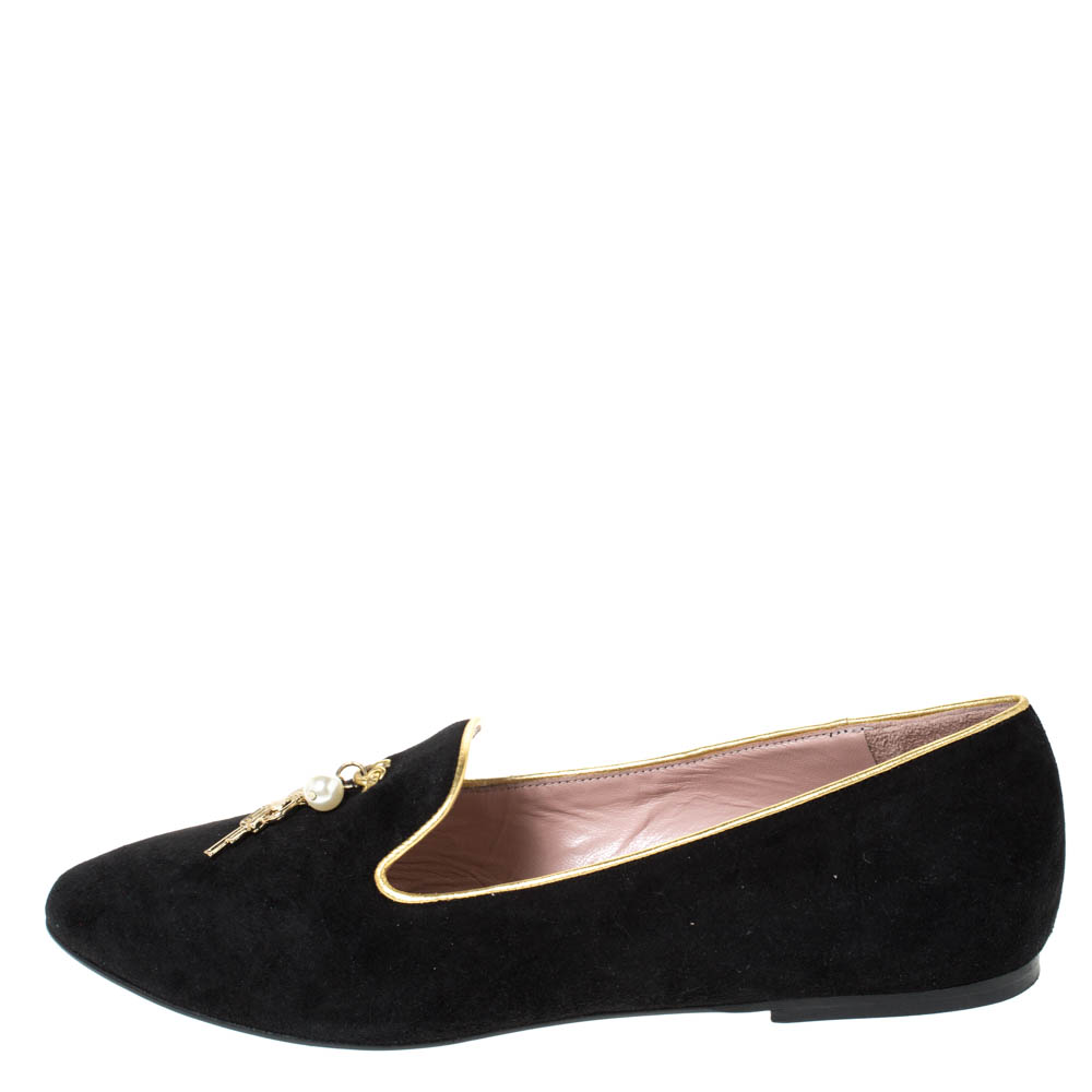 Moschino CheapAndChic Black Suede Gun And Pearl Embellished Ballet Flats Size 38  - buy with discount