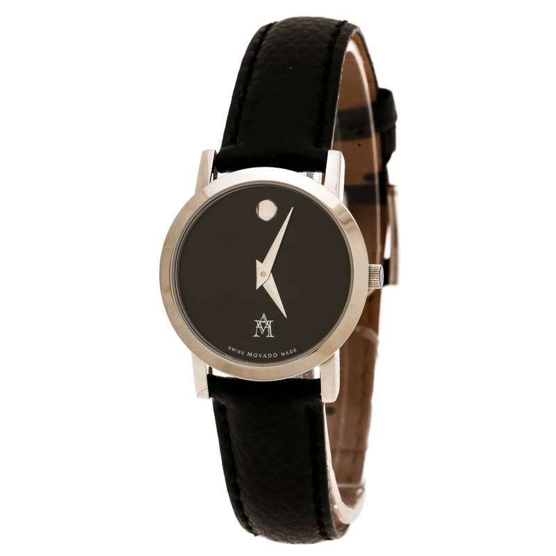 Movado Black Stainless Steel Museum 84 A1 1837 Women's Wristwatch 24 mm