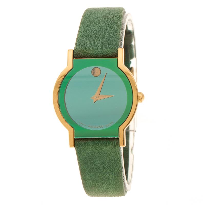 e73a619a1606b إشتري ساعة يد نسائية موفادو ميوزيوم ستانلس ستيل مطلي ذهب خضراء 24 م ...