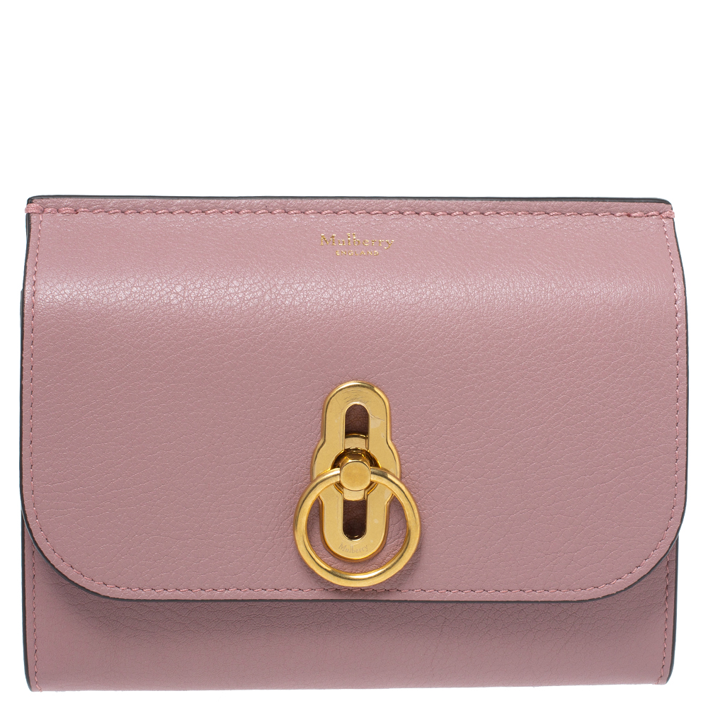 Pre-owned Mulberry Mocha Rose Leather Medium Amberley Wallet In Pink