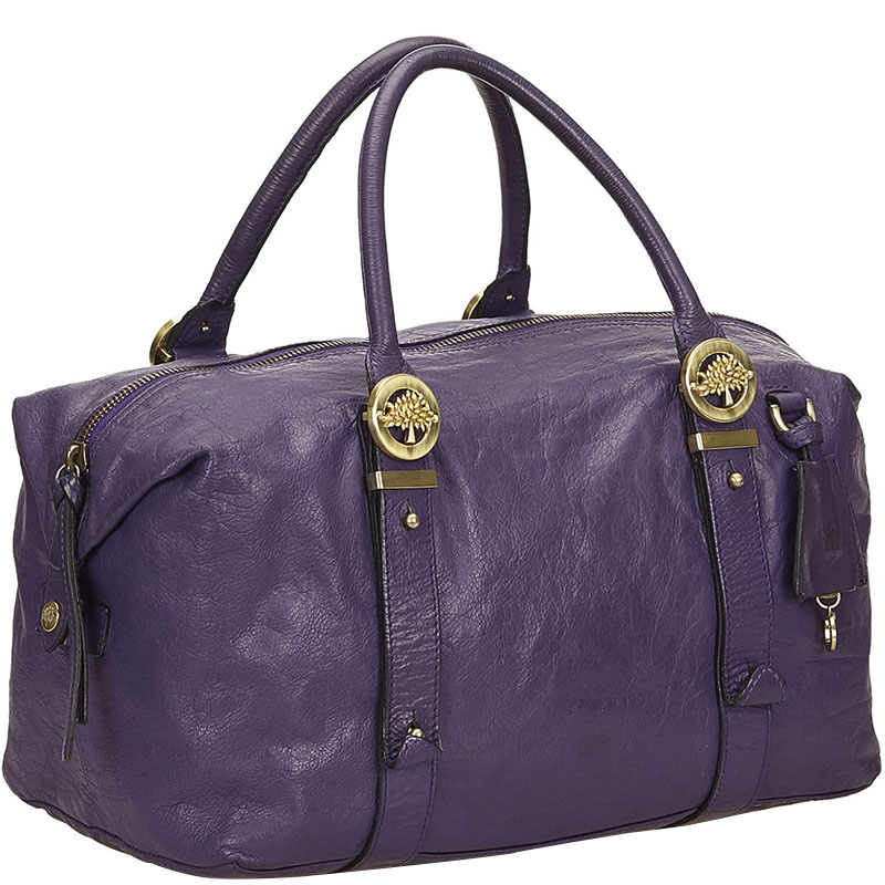 Купить со скидкой Mulberry Purple Leather Duffel Bag