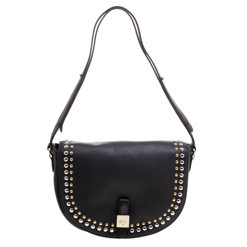 03dae01841b3 Buy Mulberry Black Leather Studded Tessie Crossbody Bag 114448 at ...