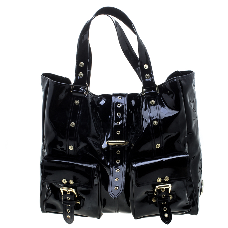 b169c44b63 Buy Mulberry Black Patent Leather Roxanne Tote 143775 at best price ...
