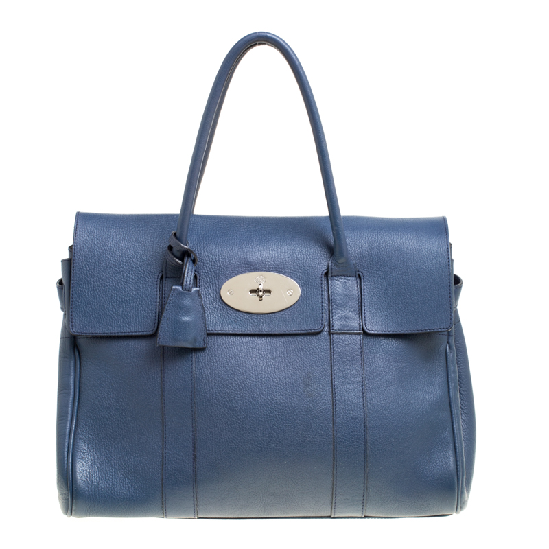 e3850ee77d Buy Mulberry Blue Leather Bayswater Satchel 149330 at best price | TLC