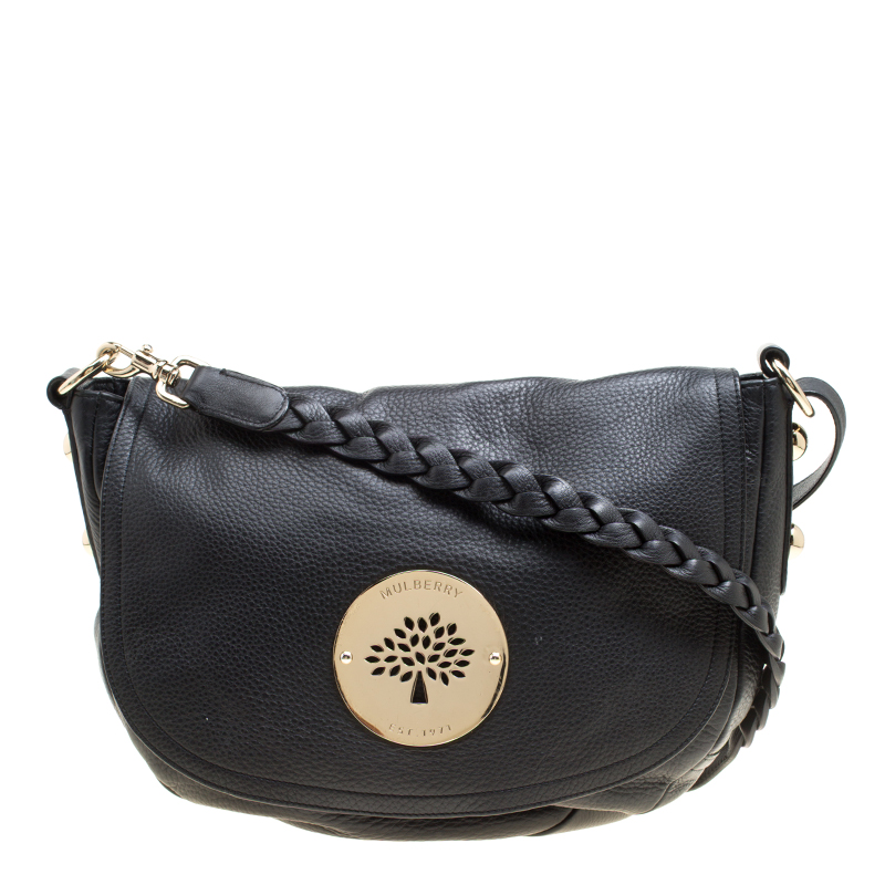 c615bee50a76 Buy Mulberry Black Leather Daria Shoulder Bag 155474 at best price
