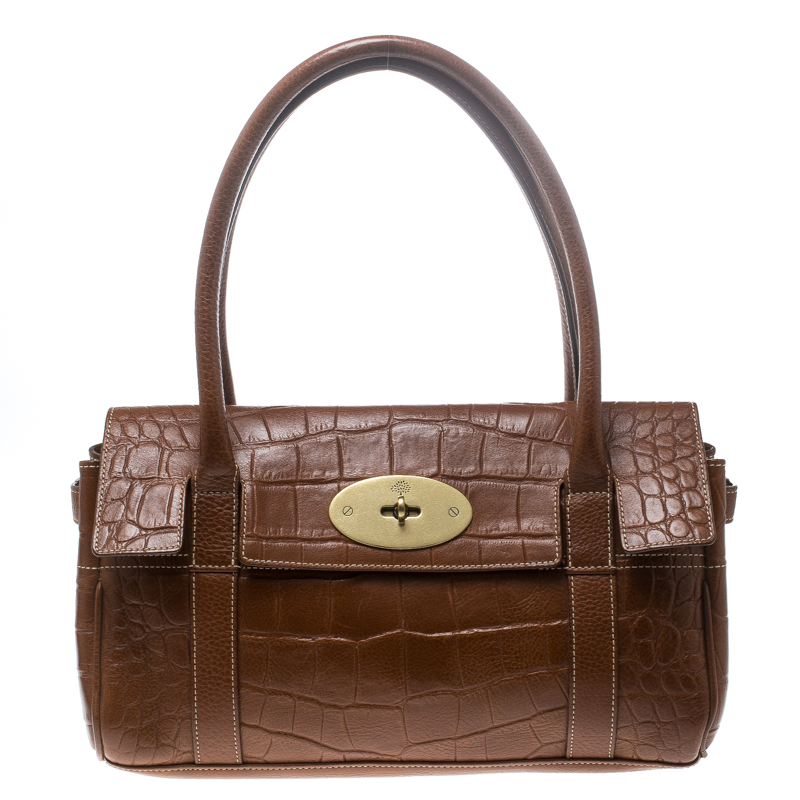 040b8d58f19e ... Mulberry Brown Croc Embossed Leather East West Bayswater Satchel.  nextprev. prevnext