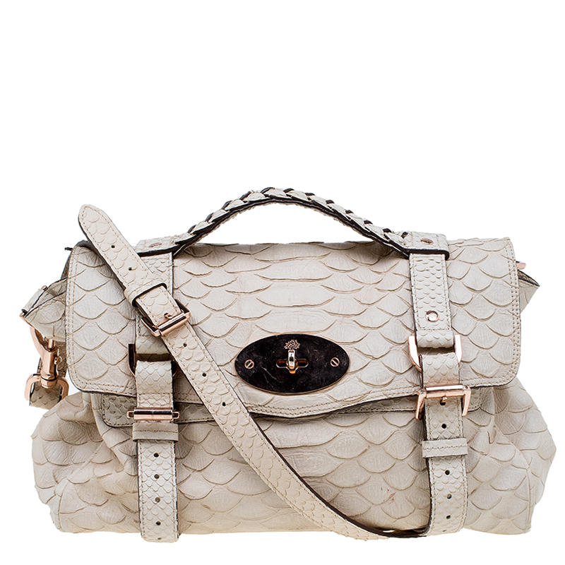 0ee4672c74b Buy Mulberry Beige Python Embossed Leather Alexa Shoulder Bag 59652 ...