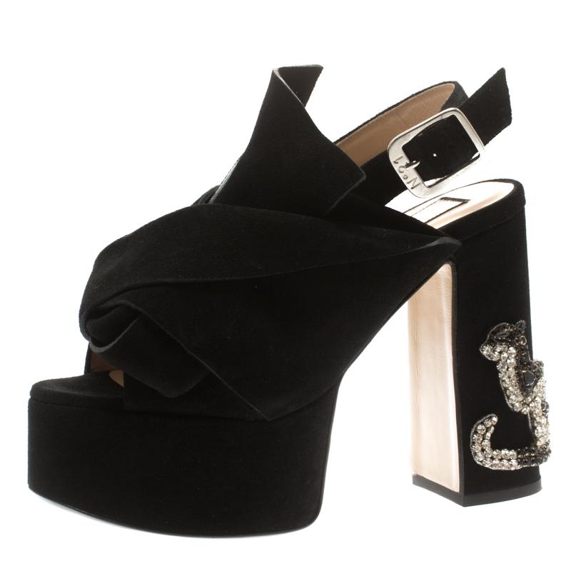 N21 Black Suede Embellished Knot Platform Block Heel Ankle Strap Sandals Size 36
