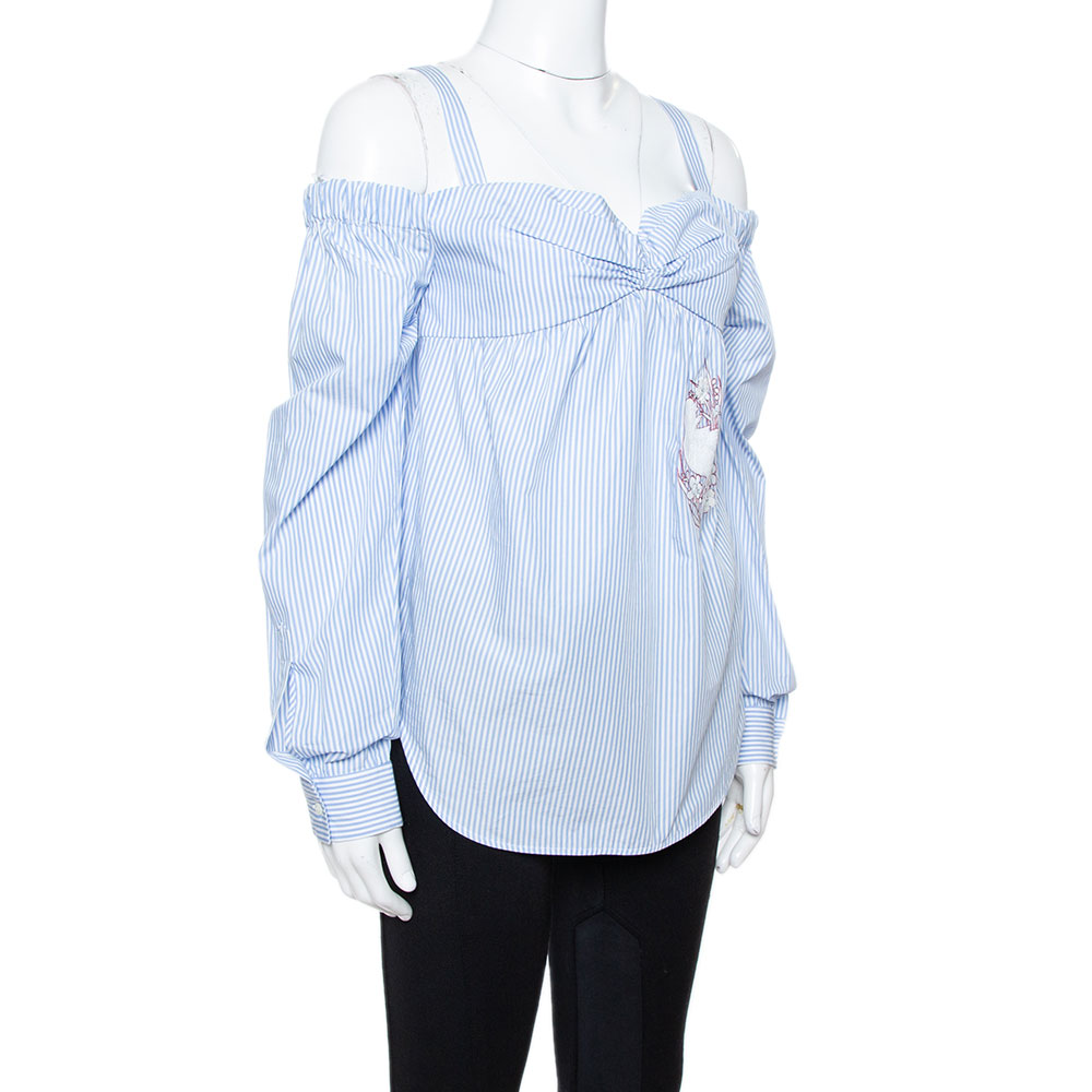 N21 Light Blue Striped Cotton Embroidered Off Shoulder Top S