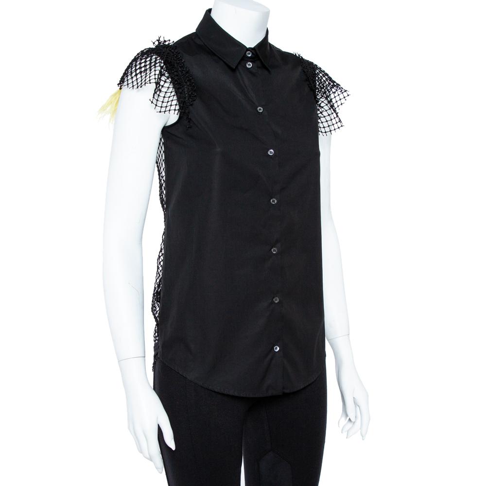 N21 Black Cotton Grid Lace Paneled Feather Trim Shirt XS