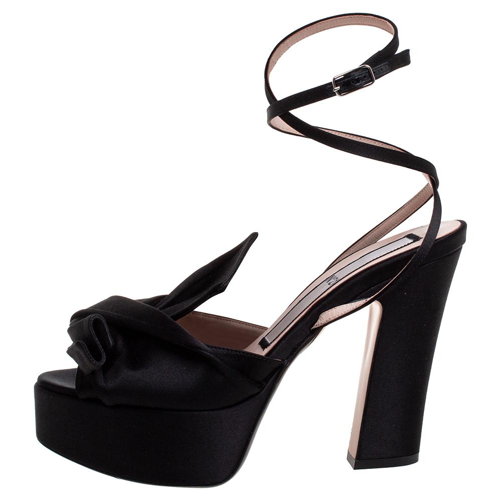 Nº21 Black Satin Ankle Strap Platform Sandals Size 39