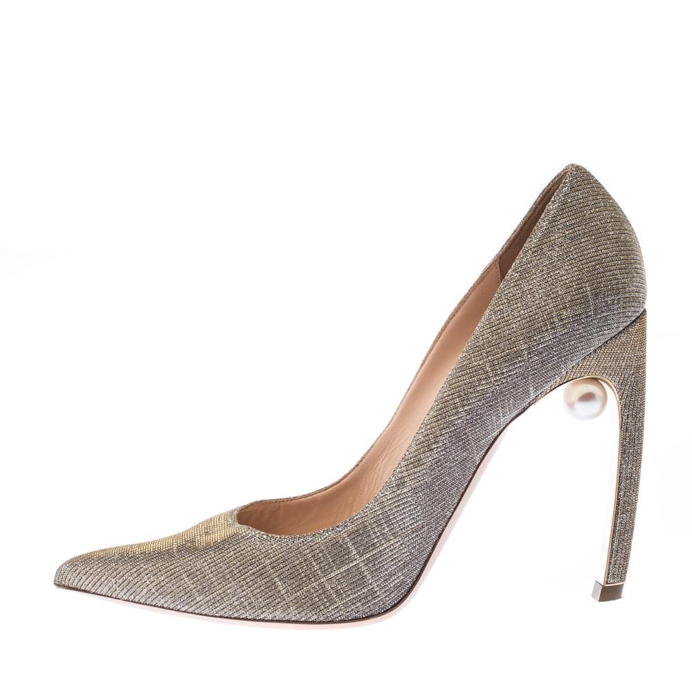 Nicholas Kirkwood Metallic Gold Glitter Tissu Perle Embellie A Souligné Toe Pompes Taille 40
