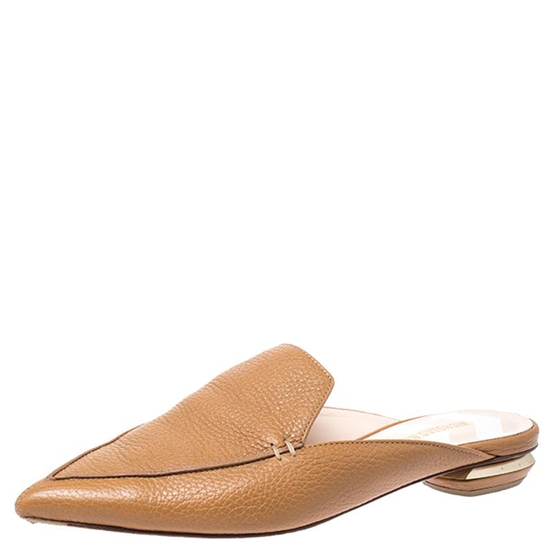Nicholas Kirkwood Tan Leather Beya Pointed Toe Mules Size 36.5