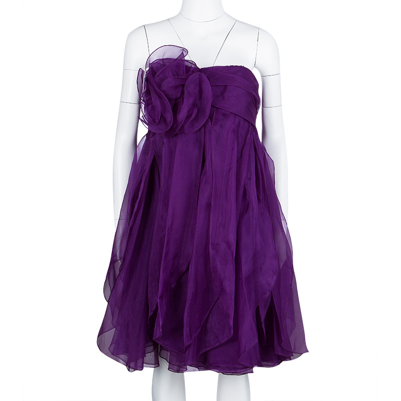 Notte By Marchesa Purple Floral Applique Ruffled Strapless Dress