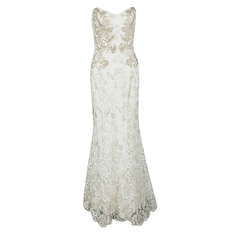 Notte by Marchesa White Floral Embroidered Lace Strapless Mermaid Gown M
