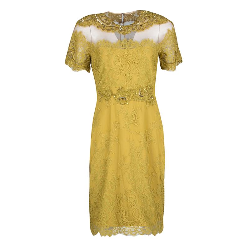 Notte by Marchesa Mustard Yellow Embellished Scalloped Lace Sheath Dress S