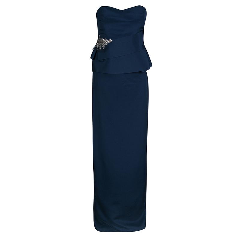 97cfb177a6 ... Notte by Marchesa Navy Blue Silk Embellished Strapless Peplum Gown L.  nextprev. prevnext