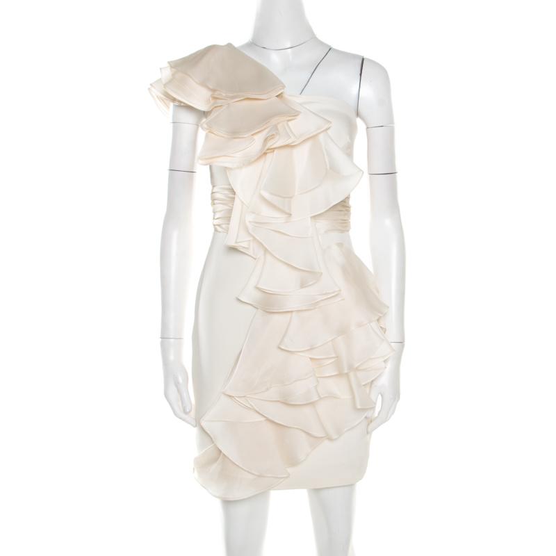 Notte By Marchesa White Silk Cascade Ruffle Detail One Shoulder Dress S