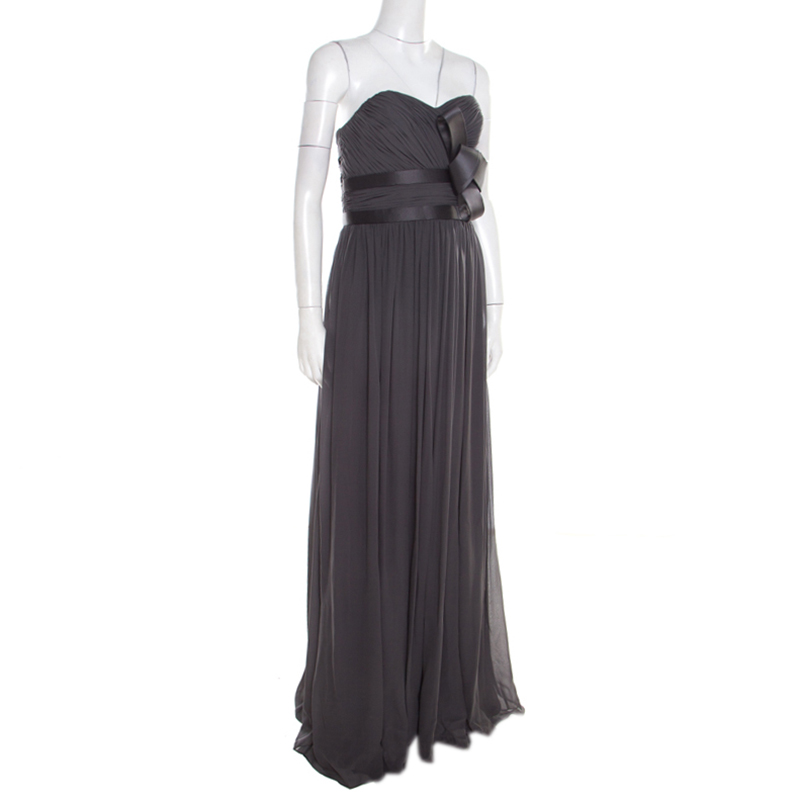 Notte by Marchesa Grey Silk Pleated Bodice Bow Detail Strapless Gown