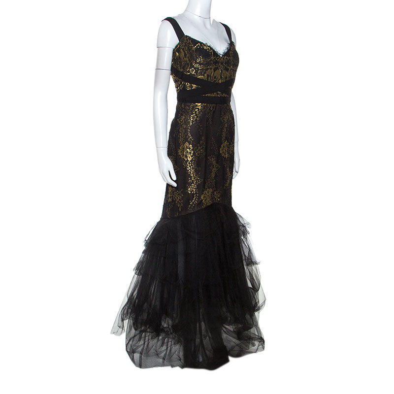 Notte By Marchesa Black and Gold Lace and Tulle Gown