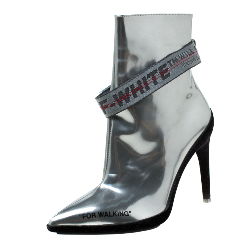 81aff59a Buy Off-White Metallic Silver Leather For Walking Pointed ...