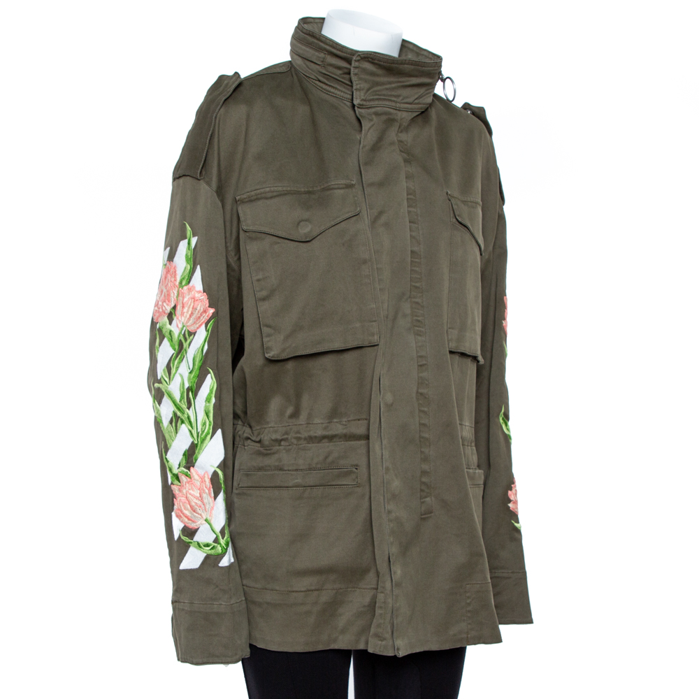 Off-White Olive Green Cotton Twill Tulip Embroidered Parka