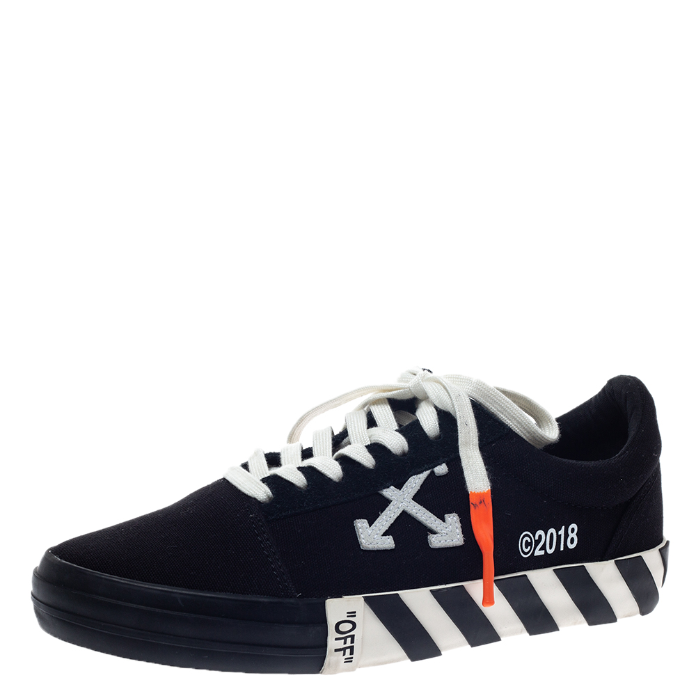 White Canvas Vulcanized Striped Low
