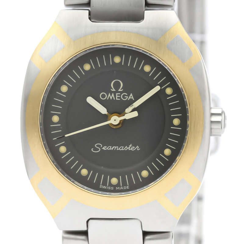 Omega Gray 18K Yellow Gold And Stainless Steel Seamaster Polaris 796.1022 Women's Wristwatch 21 MM