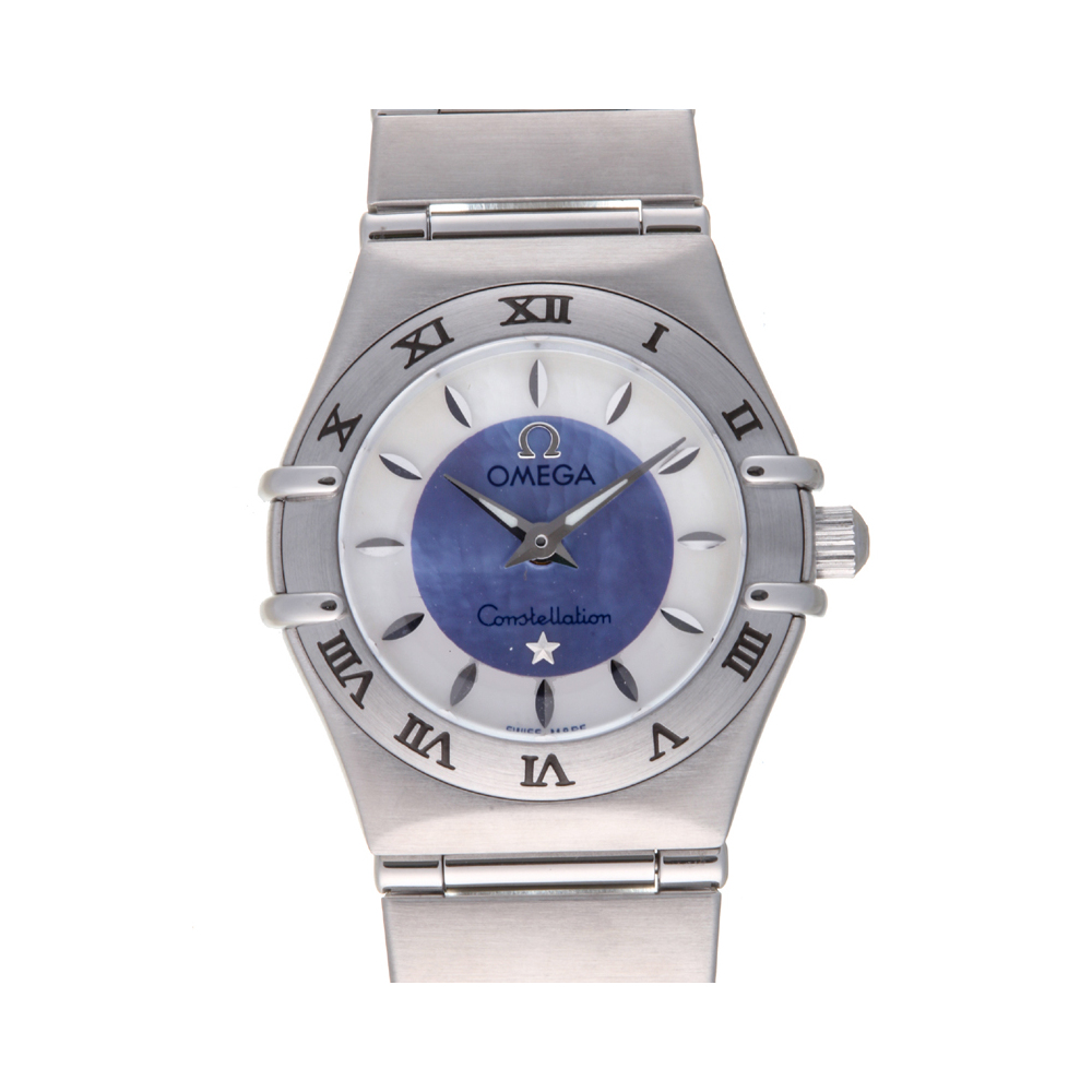 Pre-owned Omega Blue/white Stainless Steel Constellation 1562.84 Quartz Women's Wristwatch 23 Mm