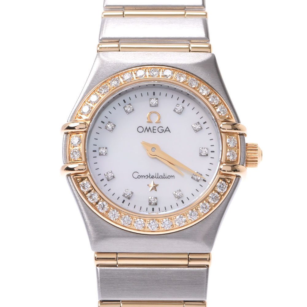 Pre-owned Omega Mop Diamond 18k Yellow Gold And Stainless Steel Constellation 1267.75 Quartz Women's Wristwatch 22 M In White