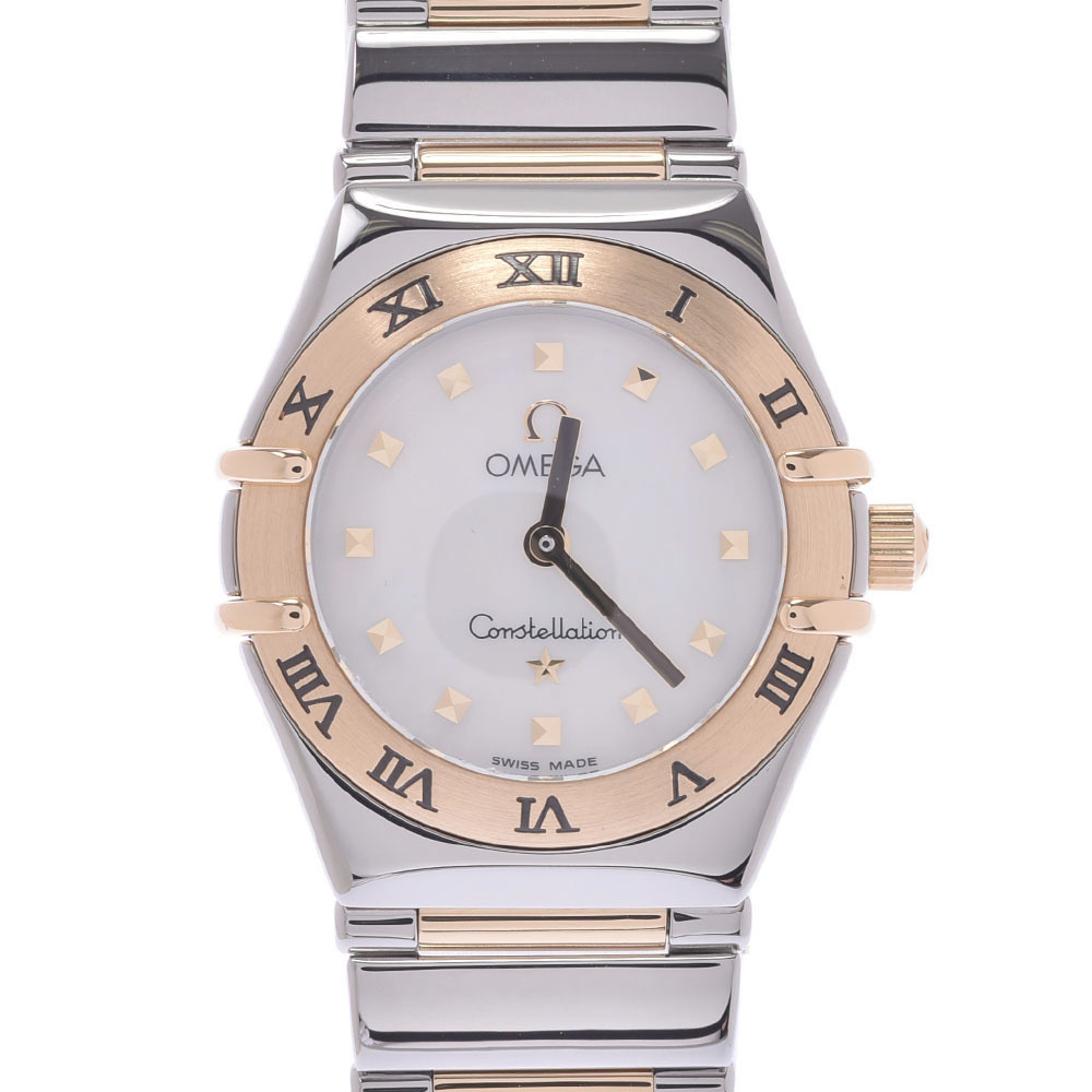 Pre-owned Omega Mop 18k Yellow Gold And Stainless Steel Constellation Quartz Women's Wristwatch 22 Mm In White