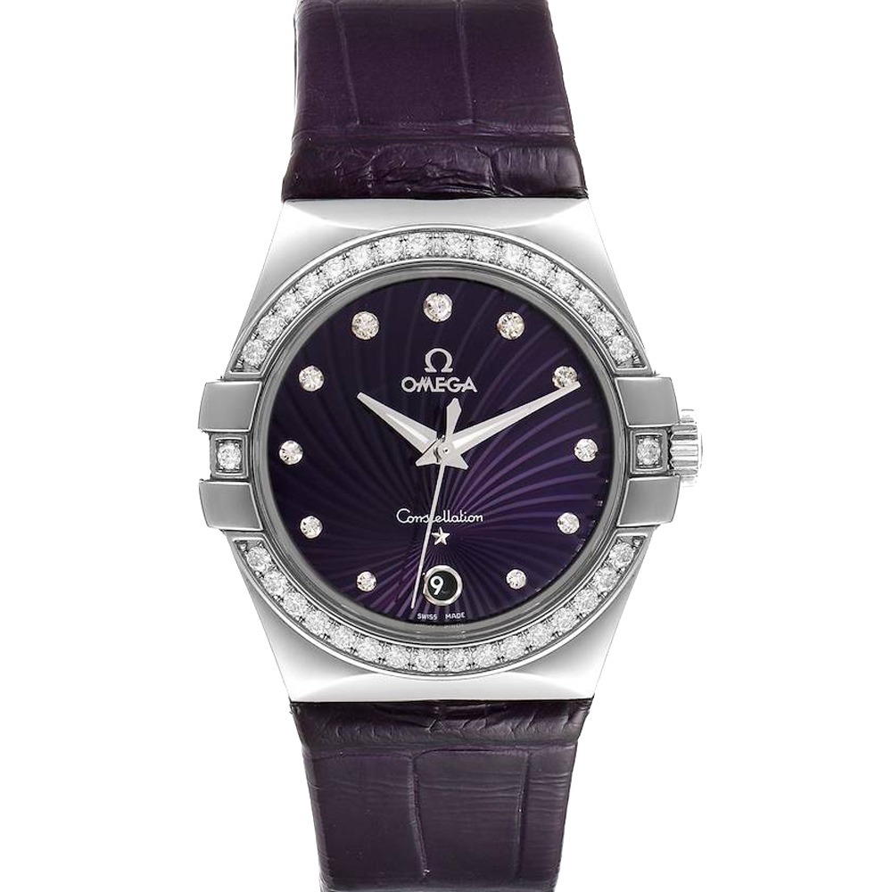 Pre-owned Omega Purple Diamonds Stainless Steel Constellation 123.18.35.60.60.001 Men's Wristwatch 35 Mm