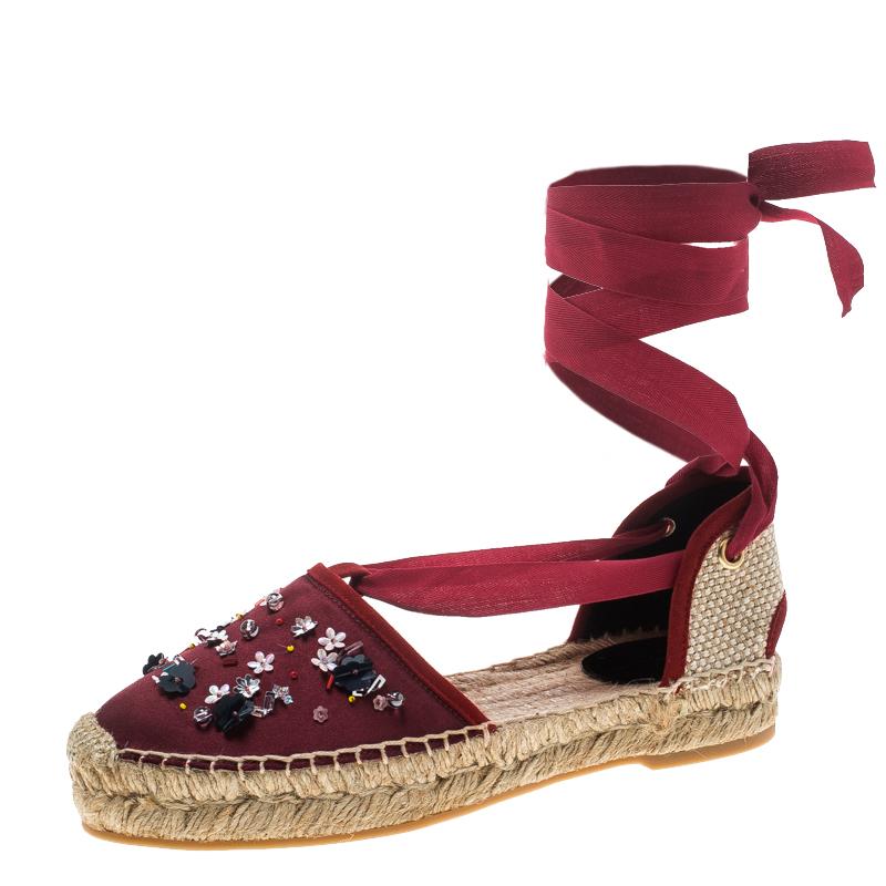 5c150dade ... Oscar de la Renta Burgundy Satin Adriana Embellished Flat Espadrilles  Size 40. nextprev. prevnext