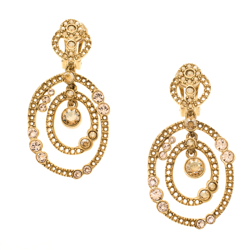 Oscar de la Renta Crystal Gold Tone Dangle Clip-on Earrings