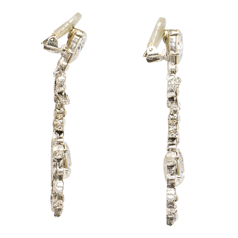 Oscar de la Renta Bow Drop Crystal Silver Tone Clip-On Drop Earrings