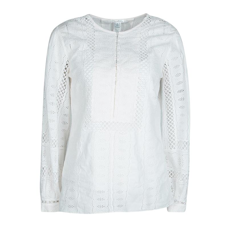 d9e2eb64d09ac9 Buy Oscar De La Renta White Broderie Anglaise Long Sleeve Blouse M ...