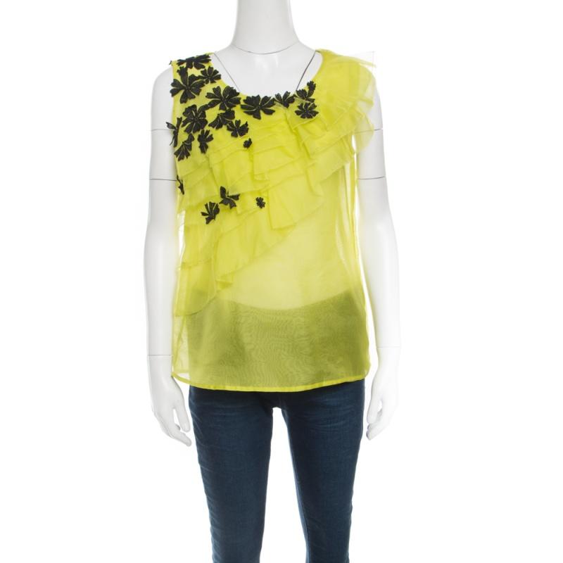 83a03f654ad98 ... Oscar de la Renta Chartreuse Ruffled Floral Applique Detail Silk  Organza Top M. nextprev. prevnext