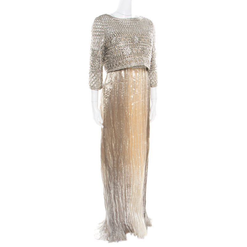 Oscar De La A Gold Lurex Pleated Strapless Dress And Textured Jacket Set L