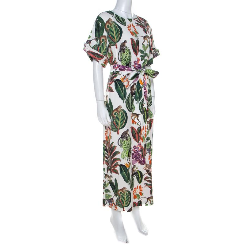 Oscar de la Renta White Jungle Print Silk Stretch Maxi Dress, Multicolor