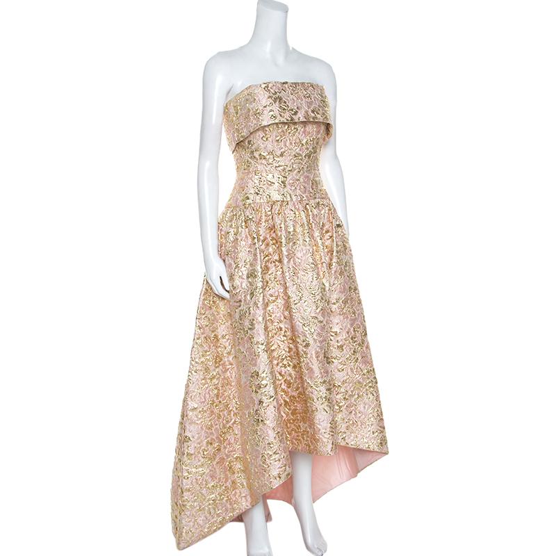 Oscar De La Renta de Rose et de Brocart d'Or, Bustier Asymétrique Robe de S