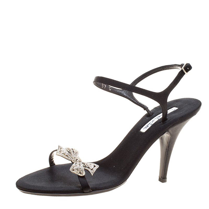 d7b34d1af41a0 ... Black Satin Crystal Bow Embellished Ankle Strap Sandals Size 37.  nextprev. prevnext