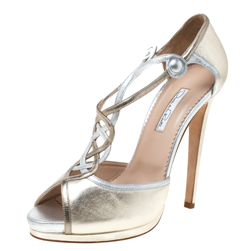 Oscar de la Renta Metallic Gold/Silver Leather Peep Toe Platform Sandals Size 40
