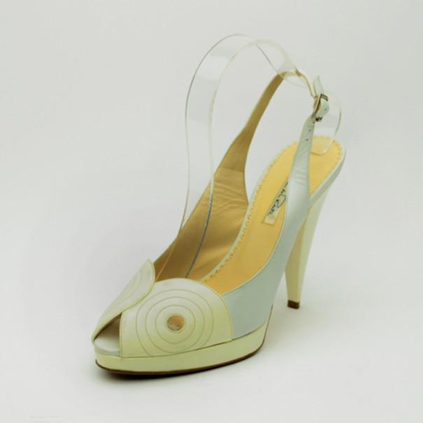 Oscar De La Renta White Leather Peep Toe Platform Slingback Sandals Size 40