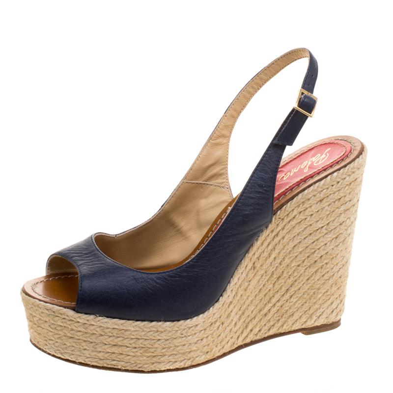 39775d6ccfab ... Paloma Barceló Blue Leather Espadrilles Wedge Slingback Sandals Size  41. nextprev. prevnext