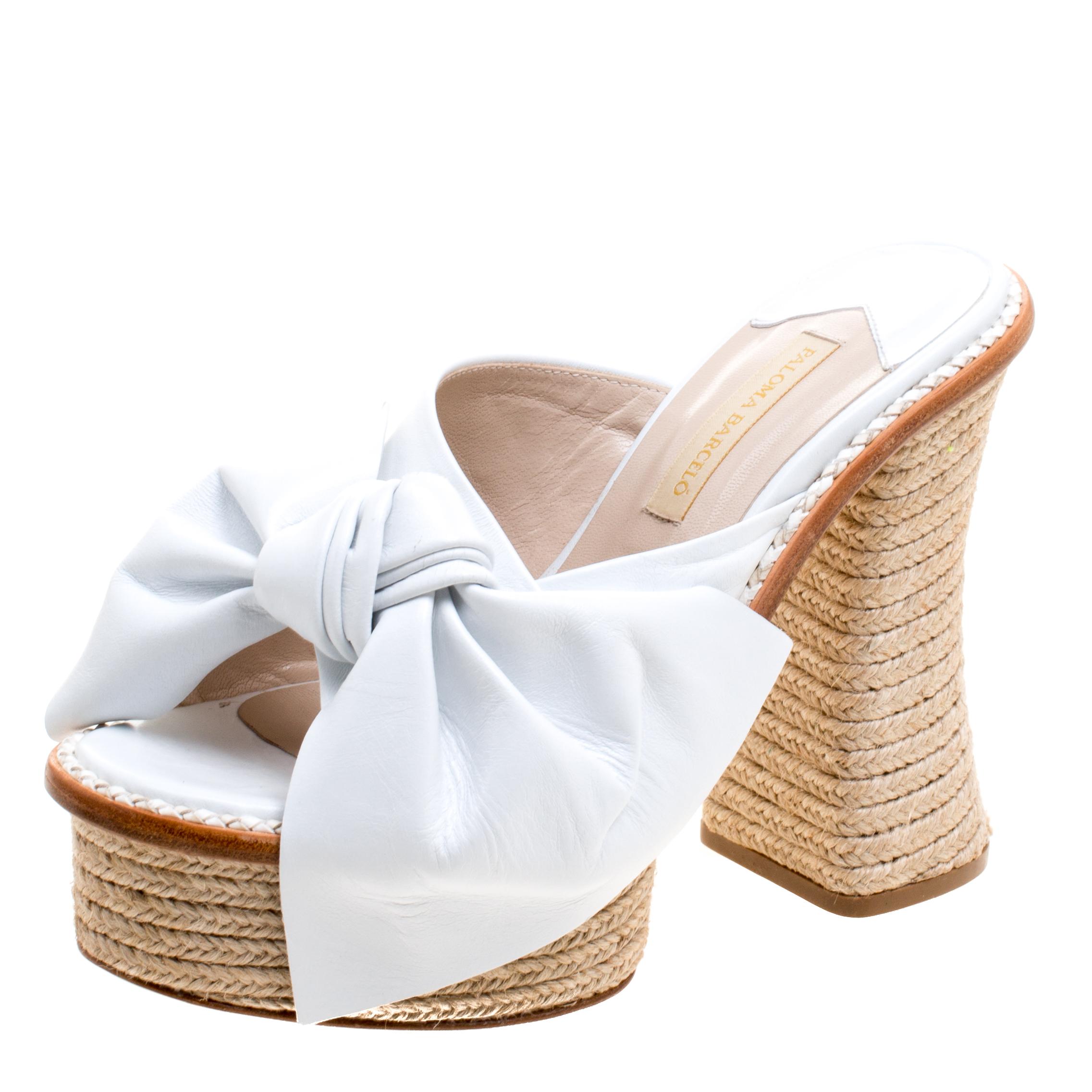 Paloma Barceló White Leather Monaco Bow Detail Espadrille Mules Size 38